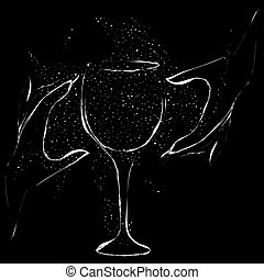 occult grunge illustration with two hands and drinking glass on black backgroud