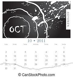 October Grunge Vine Calendar