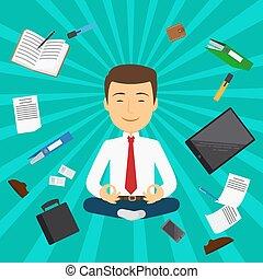 Office man meditation card design