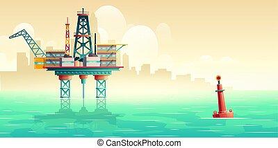 Oil extraction platform in sea cartoon vector