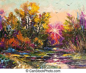 Oil Painting - Autumn decline