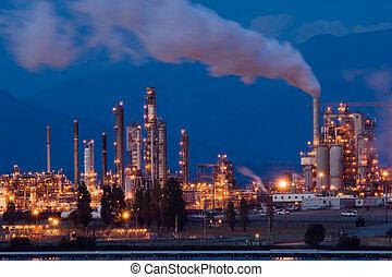 Anacortes, WA oil refinery at night