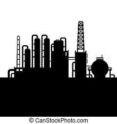Oil Refinery Plant and Chemical Factory Silhouette. Vector illustration