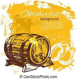 Oktoberfest vintage background. Hand drawn illustration. Beer splash blob retro design menu
