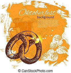 Oktoberfest vintage background. Hand drawn illustration. Splash blob retro design with beer