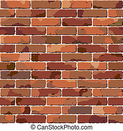 Vector illustration of an old seamless brick wall texture