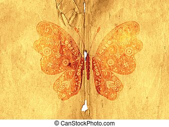 Old paper page with vintage butterfly