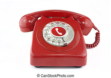 Red old fashioned style telephone from 1970's