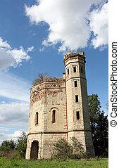 old ruined castle vintage landscape