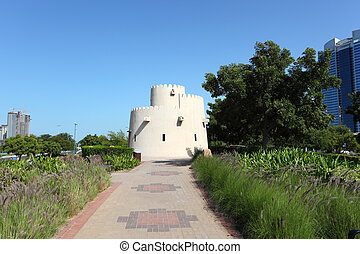 Old tower at the corniche park in Abu Dhabi, United Arab Emirates
