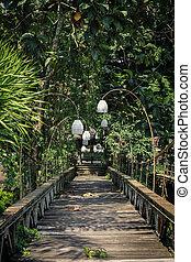 Old wooden bridge in Ubud, Bali.