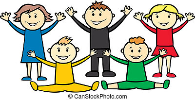 vector happy children isolated on white background imitate olympic circles