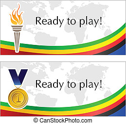 Olympic text frame with torch and medal with flag decoration