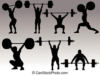 olympic game vector image - weight lifting silhouette