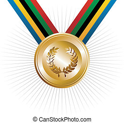 Olympics Games gold medal with ribbons in the colors which represents the five continents on white background. Vector file layered for easy manipulation and customisation.