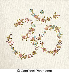 Om symbol made of flowers for yoga