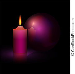 candle and purple ball