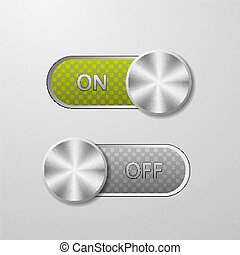 ON and OFF button on a metal background