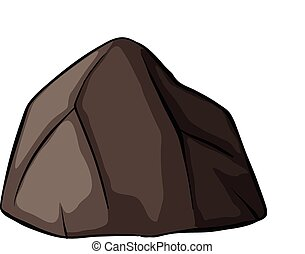 One grey rock on a white background