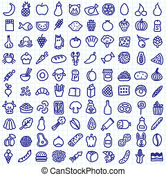 one hundred hand drawn food icons