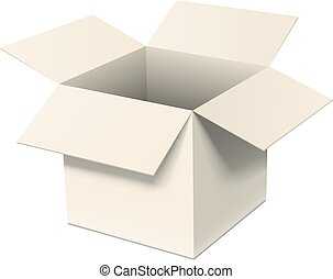 Open cardboard box isolated on white. Realistic EPS10 vector image.