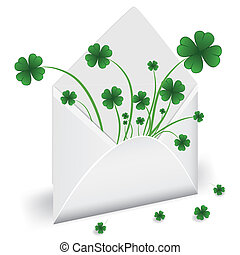Open envelope with clover