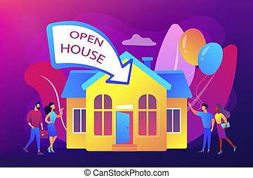 Open house concept vector illustration.