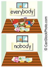 Opposite word for everybody and nobody illustration