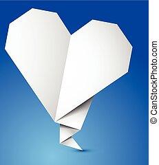 Origami heart. Vector
