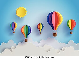 Origami made colorful hot air balloon and cloud. paper art style.