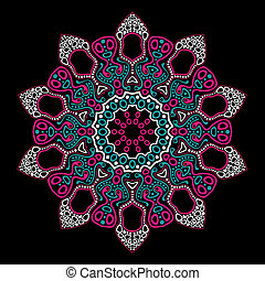 ornamental round lace pattern, circle background with many details, looks like crocheting handmade lace