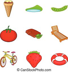Outdoor activities icons set, cartoon style