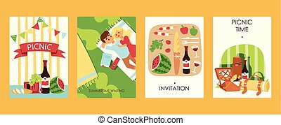 Outdoor picnoc time invitation cards vector ilustration. Food, bootle of wine, watermalon, bread, tomatoes. Lovely couple has rest. Picnic accessories. Summertime waiting.