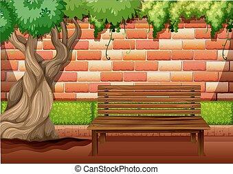 Outdoor sitting area on the walkway