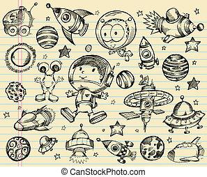 Outer Space Doodle Sketch Vector Illustration Set