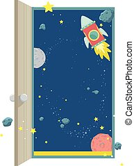 Outer Space Open Door Illustration