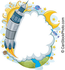 Outer Space Rocket Launch with Cloud Frame Background