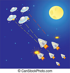 Outer Space, ship and star - Vector Illustration