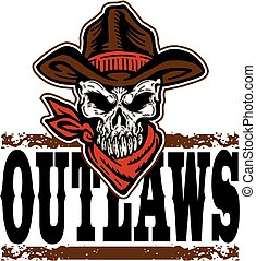 outlaws design with skull and cowboy hat