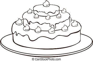 Outline illustration - cake on plate