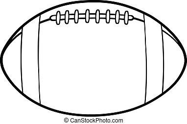 Black And White American Football Ball Cartoon Illustration