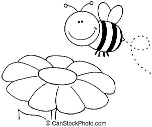 Outlined Bee Flying Over Flower