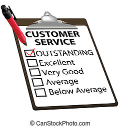 CUSTOMER SERVICE evaluation for quality with red check mark in OUTSTANDING box with clipboard and red ink pen.