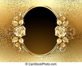 Oval banner with golden rose