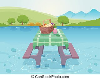 Over Water Picnic Illustration