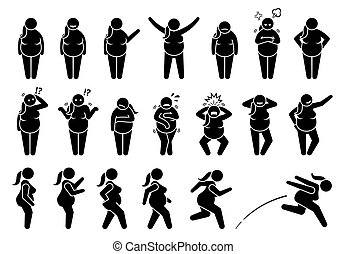Overweight fat woman basic poses and postures stick figure character pictogram.