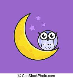 owl and moon at night logo cute illustration