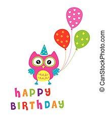 owl birthday party card