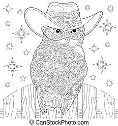 Owl cowboy coloring page