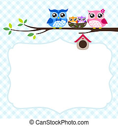 owl family spring invitation card